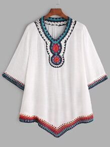 White Crochet V Neck Hollow Out Blouse