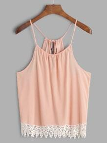 Pink Contrast Lace Trim Cami Top