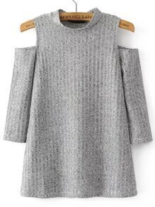 Jersey de canalé con hombro abierto - gris