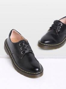 Black Rubber Sole Lace Up PU Flats