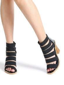 Black Cutout Elastic Chunky Heeled Sandals