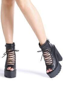 Black Peep Toe Lace Up Platform Chunky Heeled Sandals