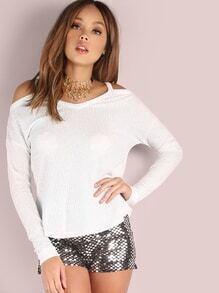 T-shirt tricot de ruffle à l'épaule fendue manche dolman -blanc