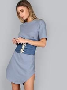 Blue Splash Print Curved Hem Distressed Tee Dress