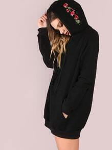 Kapuzensweatshirt mit Taschen Stickereien-schwarz