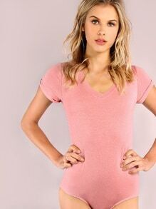 Pink V Neck Short Sleeve Bodysuit
