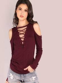 Long Sleeve Cold Shoulder Rib Knit Lace Up Top BURGUNDY