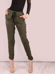 Pantalones deportivos de satén - verde oliva