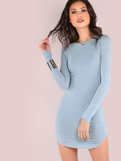 Blue Long Sleeve Curved Hem Bodycon Dress