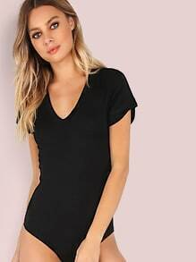 Short Sleeve V Neck Bodysuit BLACK