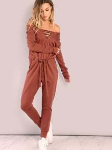 Oversized Lace Up Cotton Jumpsuit SIENNA