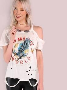T-shirt Beunruhigte wilde u. Freie Weltgraphik Grunge-elfenbein