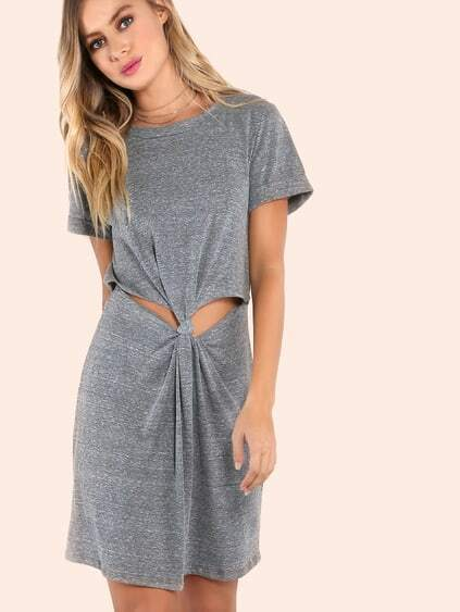 Cuffed Sleeve Knotted Peakaboo Dress GREY