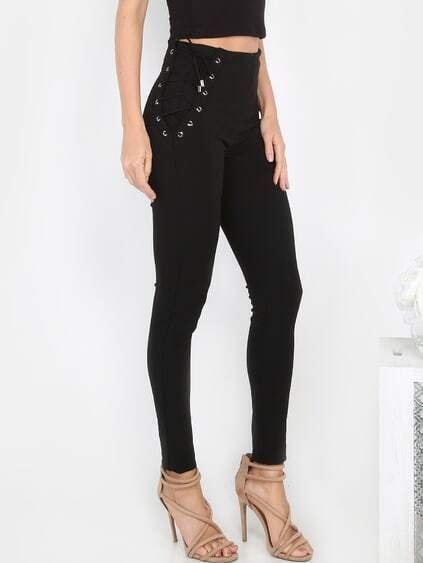 Lace Up Tapered Slack Pants BLACK