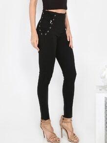 Pantalons couleur unie avec lacets - noir