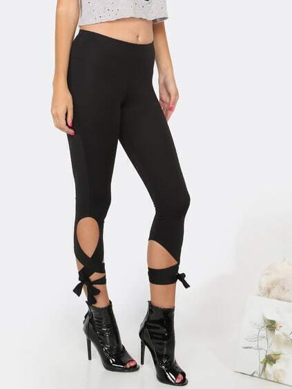 Lace Up Capri Leggings BLACK