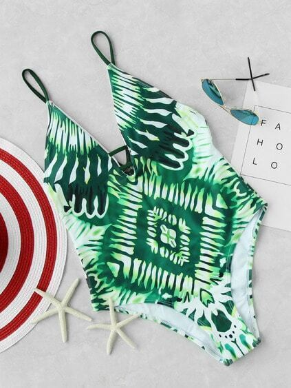 Buy Tropical Print V-cut Strappy Back Swimsuit
