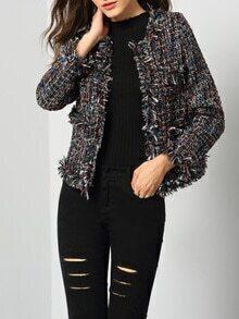 Manteau manches longues à franges -multicolore