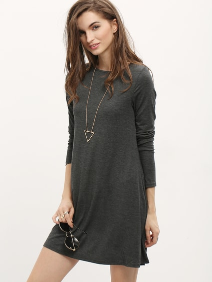 Grey Long Sleeve Minimalist Simple Classical Casual Dress