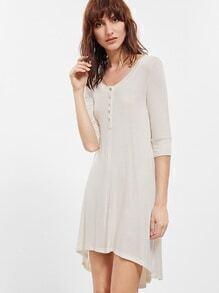 Robe asymétrique col rond manche longue -blanc