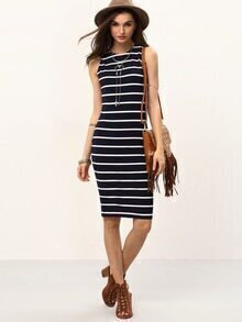Navy And White Striped Sleeveless Knee Length Dress