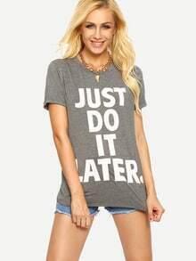 Kurzarm T-Shirt mit Buchstaben Druck lässig -grau