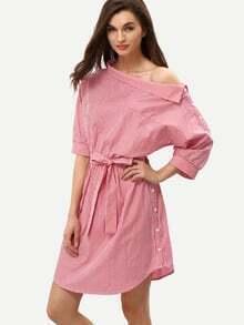 schulterfreies  Kleid Halbarm mit Streifen - rot