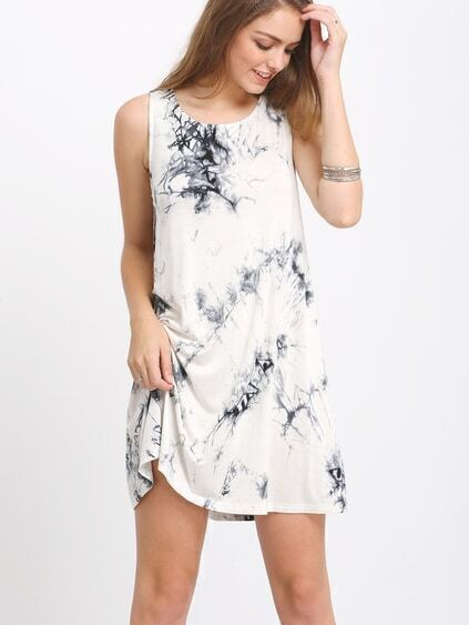 Black Sleeveless Ink Print Smoke Dress