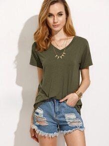 Camiseta manga corta escote V - verde militar