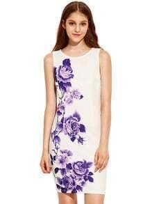 Burple Sleeveless Vintage Print Dress