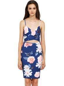 Spaghetti Strap Cut Out Floral Sheath Dress