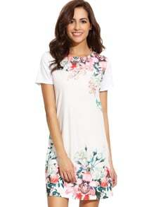 White Round Neck Floral Print Vintage Dress