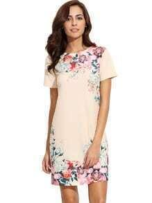Khaki Round Neck Floral Print Vintage Dress