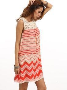 ärmelloses Kleid mit Druck - mehrfarbig