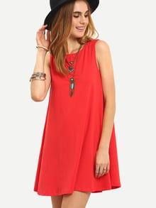 Vestido sin manga holgado -rojo