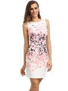 Rosa Sleeveless Weinlese-Druck-Kleid
