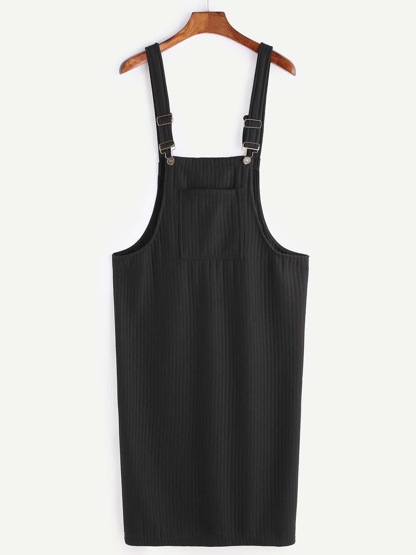 Black Ribbed Pinafore Dress With Pockets