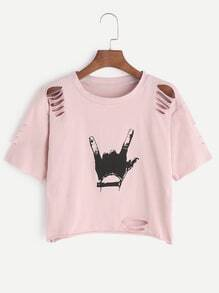 Pink Love Gesture Print Ripped T-shirt