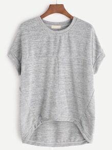 Grey High Low Marled T-shirt