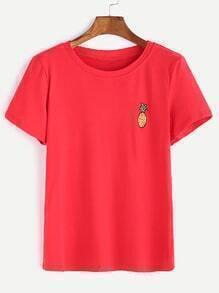 Camiseta con estampado de piña - rojo