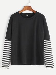 Black Stripped Contrast Sleeve T-shirt