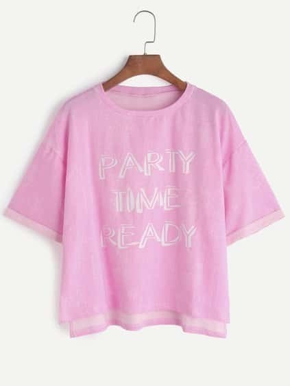 Pink Letter Print High Low Cuffed T-shirt