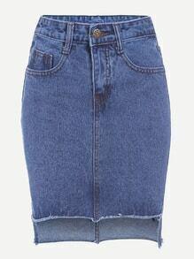 Blue High Low Fraying Denim Skirt