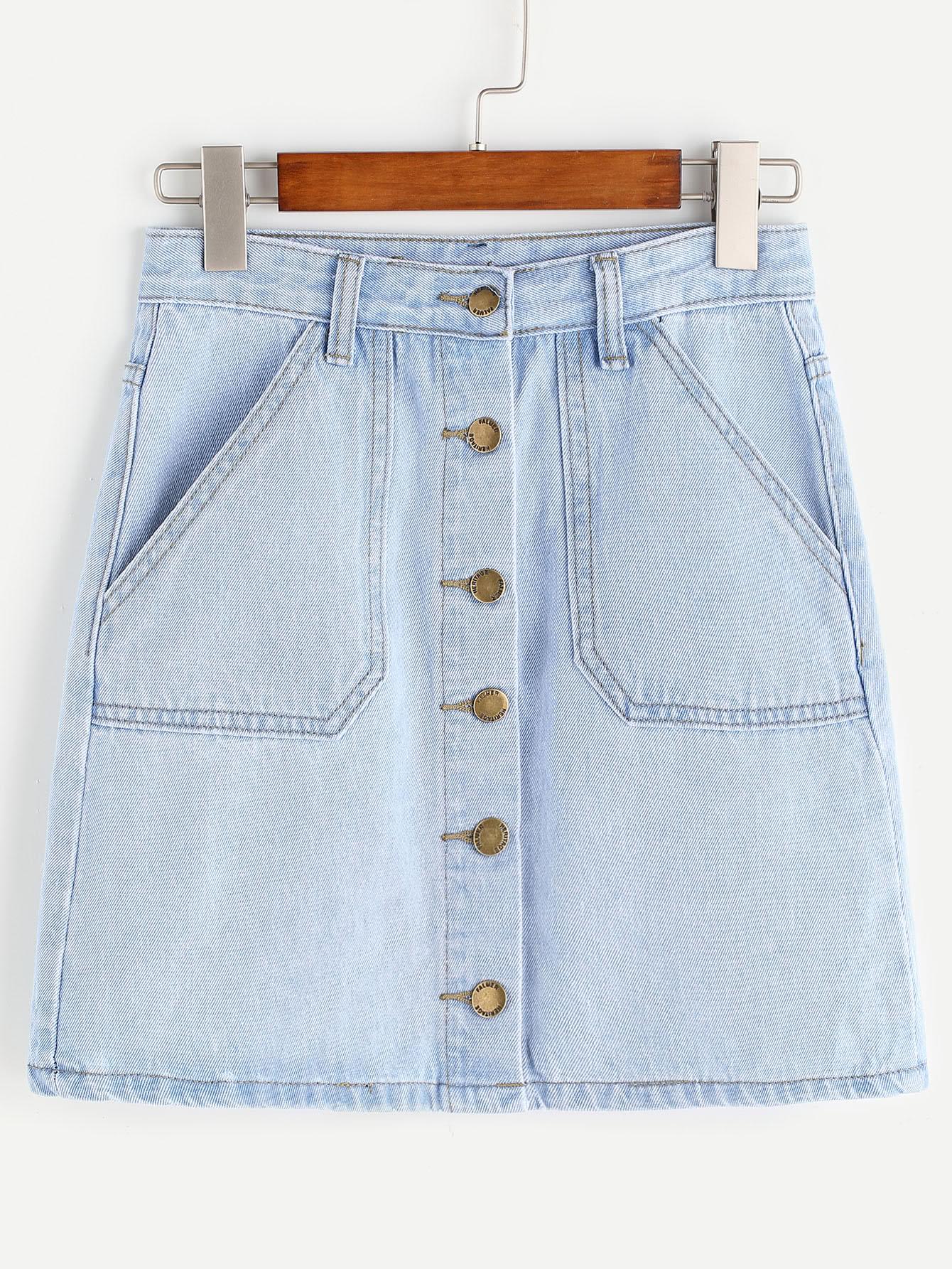 Light Blue Single Breasted Pockets Denim Skirt