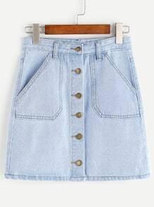 Falda con una botonadura y bolsillos en denim - azul claro