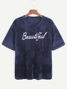 Navy Letter Embroidered Velvet T-shirt