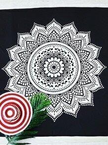 Black And White Lotus Print Beach Blanket