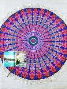 Multicolore Tribal Print Fringe Trim Couverture de plage ronde
