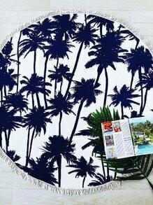 Marine-Kokosnuss-Baum-Druck-Fringe-Ordnung-runde Strand-Decke