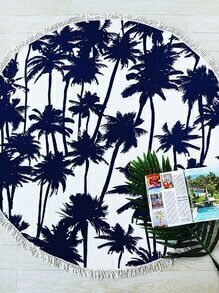 Navy Coconut Tree Imprimer Fringe Trim Couverture de plage ronde